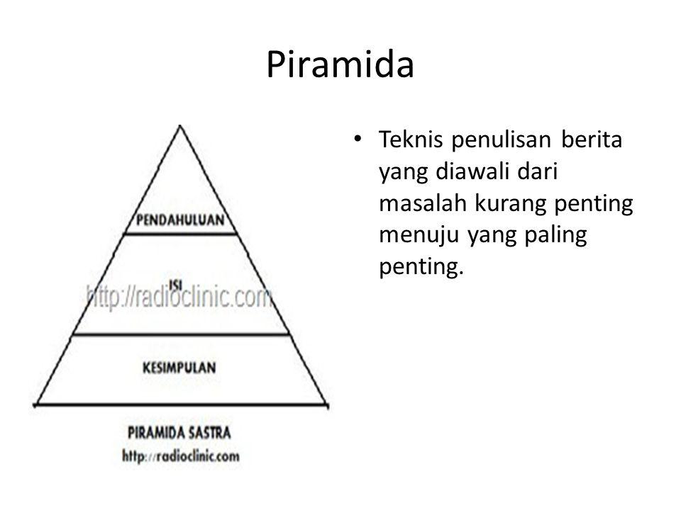 Piramida Teknis penulisan berita yang diawali dari masalah kurang penting menuju yang paling penting.