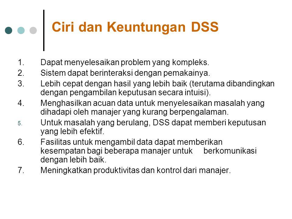 Ciri dan Keuntungan DSS