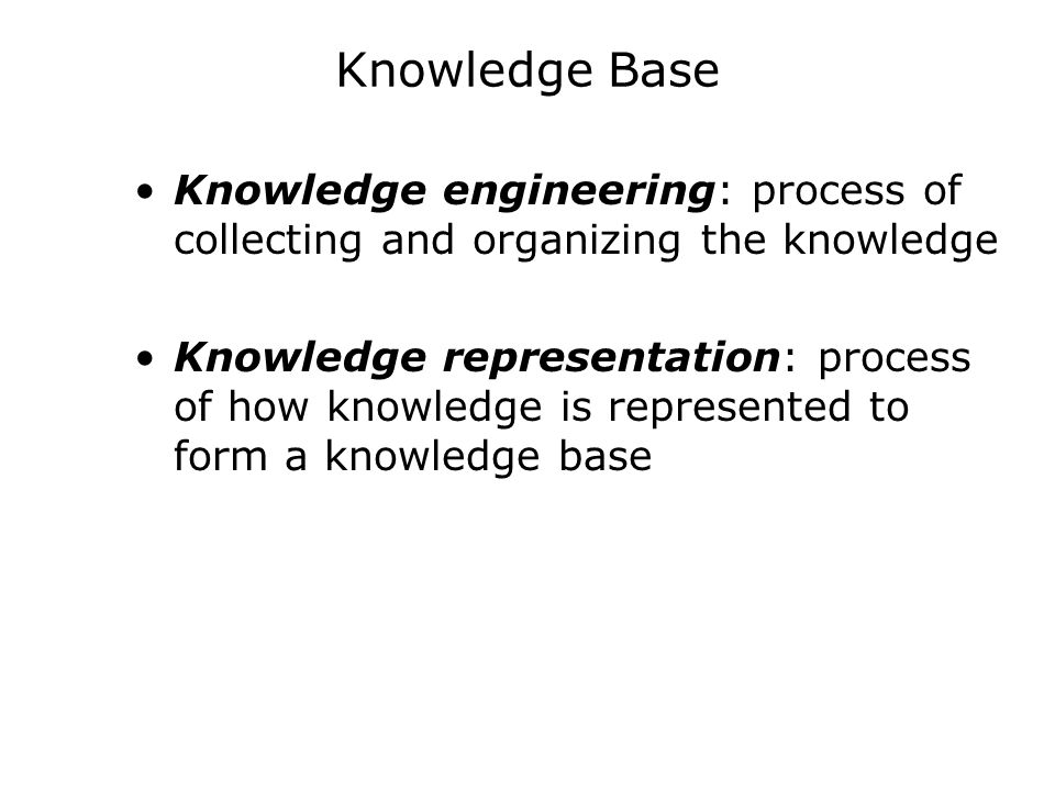 Knowledge Base Knowledge engineering: process of collecting and organizing the knowledge.