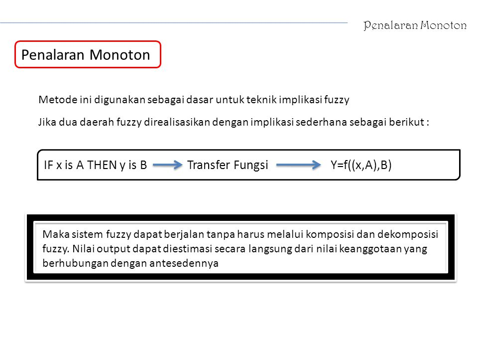 Penalaran Monoton IF x is A THEN y is B Transfer Fungsi Y=f((x,A),B)