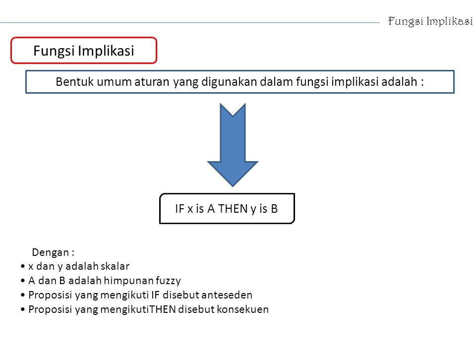 Bentuk umum aturan yang digunakan dalam fungsi implikasi adalah :