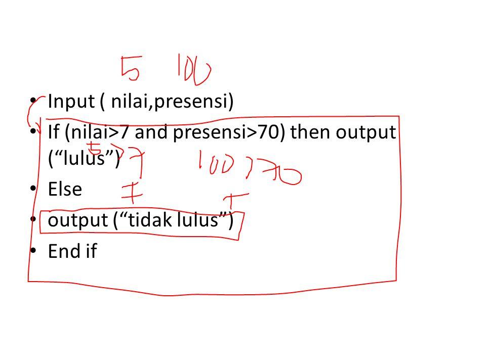 Input ( nilai,presensi)