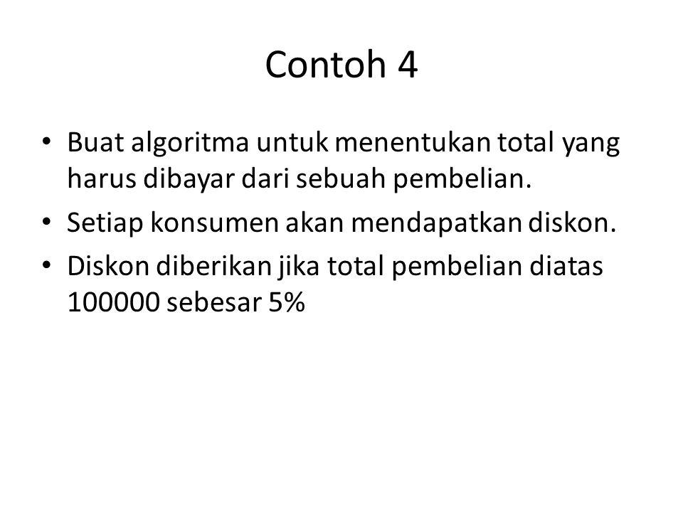 Contoh 4 Buat algoritma untuk menentukan total yang harus dibayar dari sebuah pembelian. Setiap konsumen akan mendapatkan diskon.