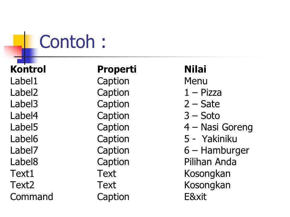 Contoh : Kontrol Properti Nilai Label1 Caption Menu
