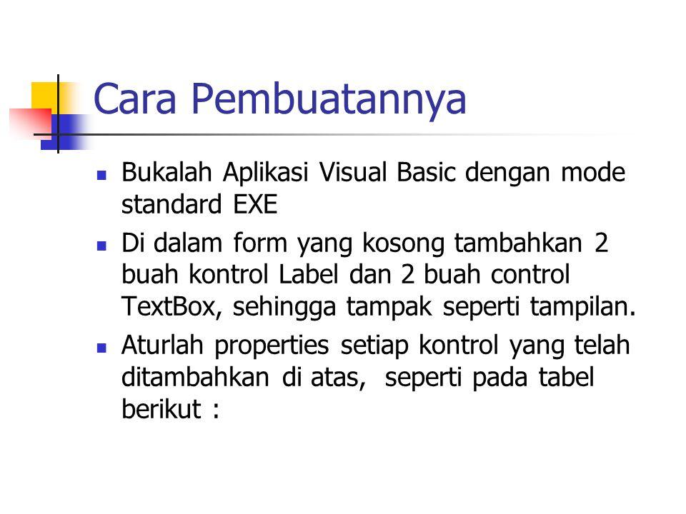 Cara Pembuatannya Bukalah Aplikasi Visual Basic dengan mode standard EXE.
