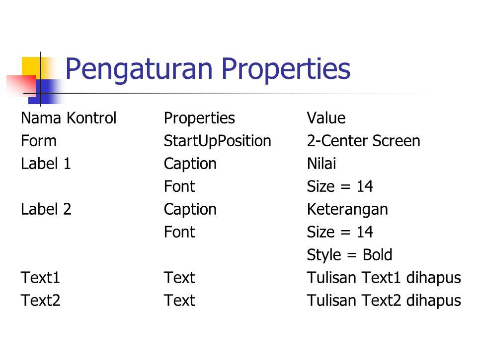 Pengaturan Properties