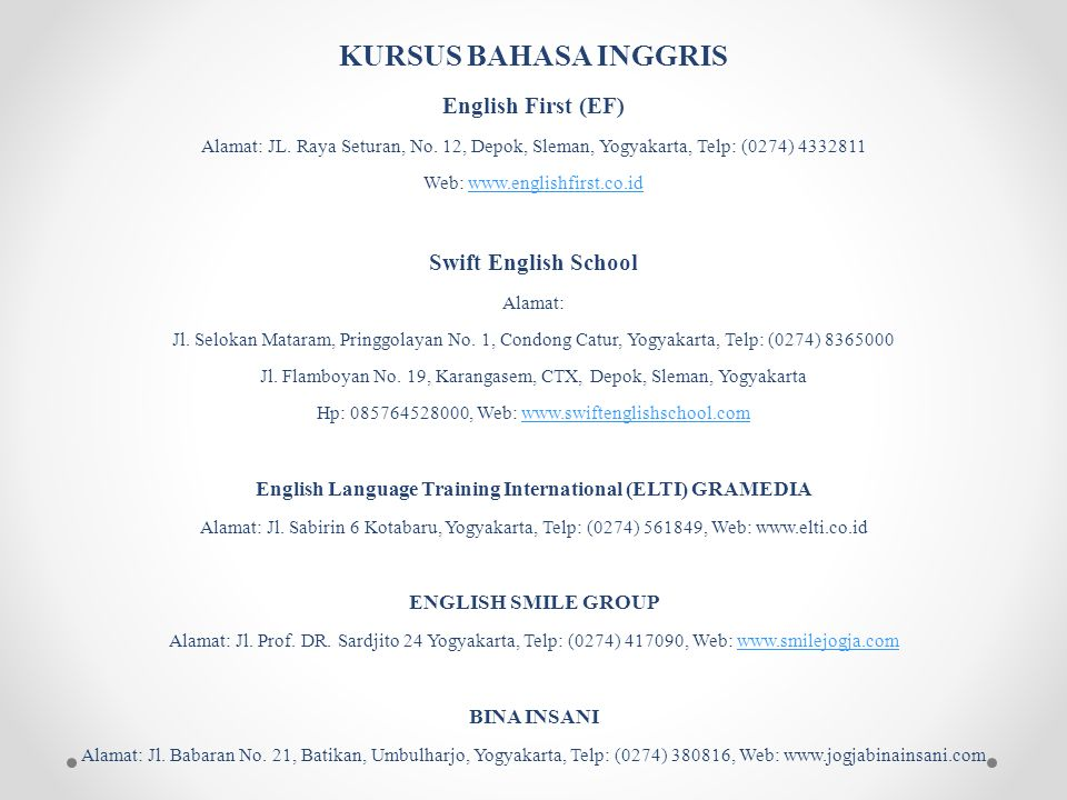 English Language Training International (ELTI) GRAMEDIA