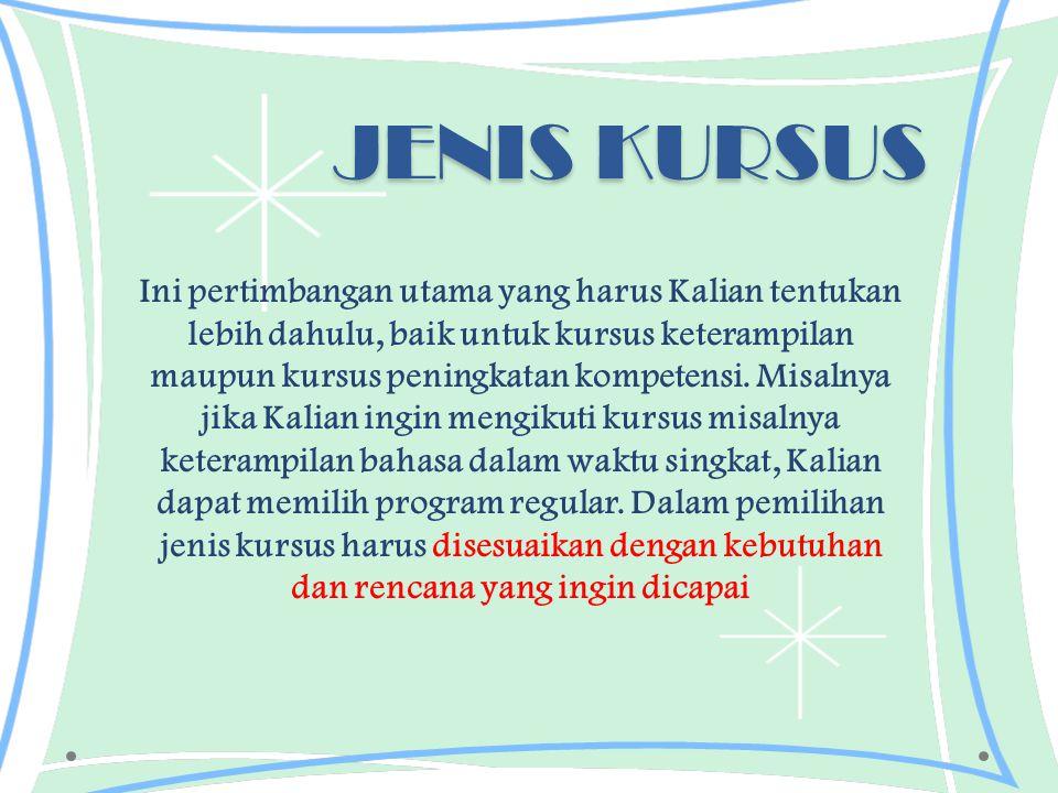 JENIS KURSUS