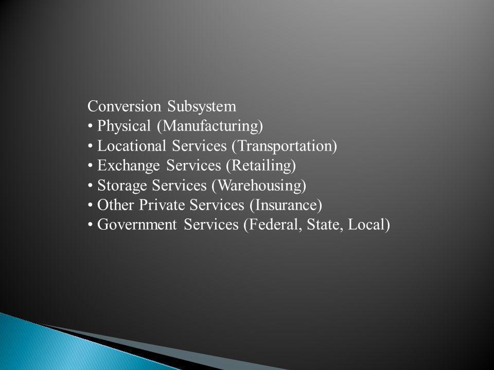 Conversion Subsystem • Physical (Manufacturing) • Locational Services (Transportation) • Exchange Services (Retailing)
