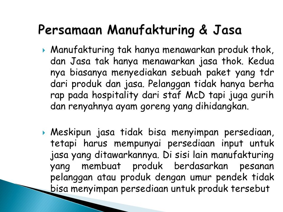 Persamaan Manufakturing & Jasa