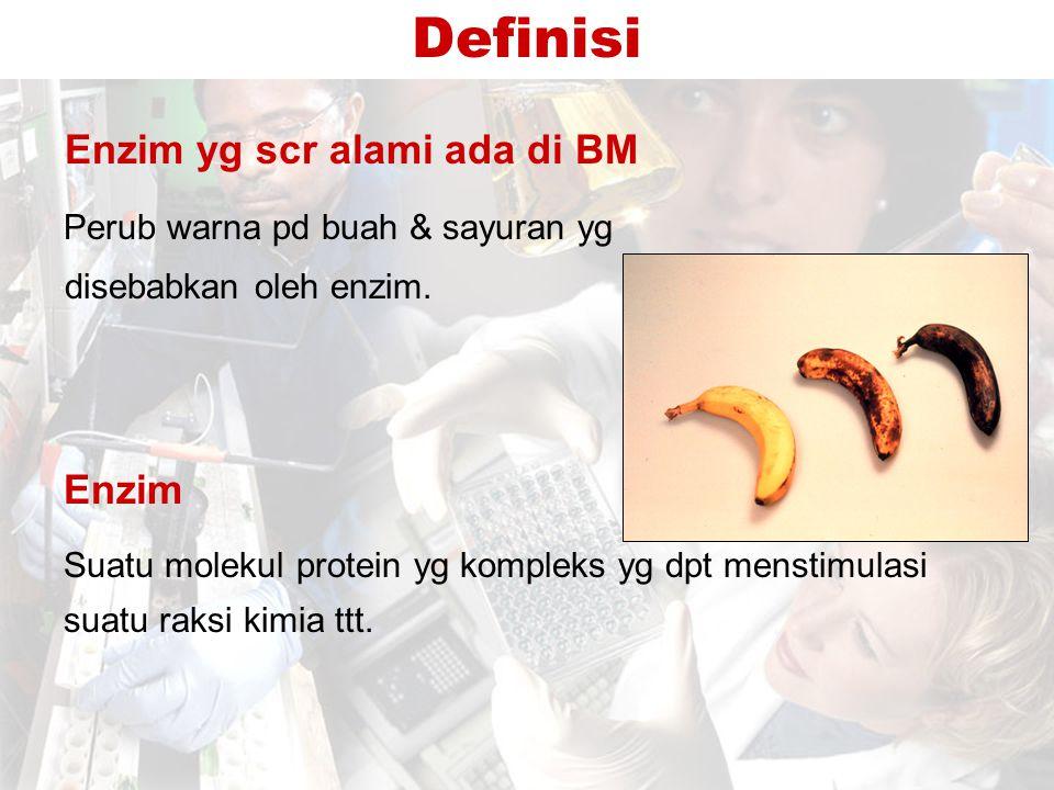 Definisi Enzim Perub warna pd buah & sayuran yg disebabkan oleh enzim.