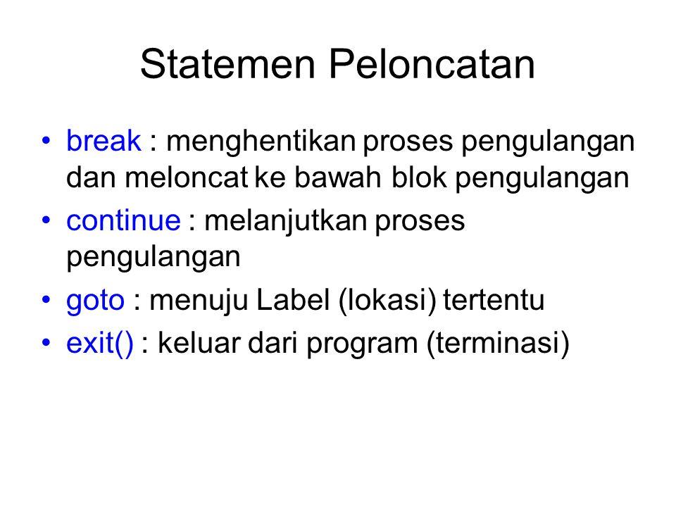 Statemen Peloncatan break : menghentikan proses pengulangan dan meloncat ke bawah blok pengulangan.