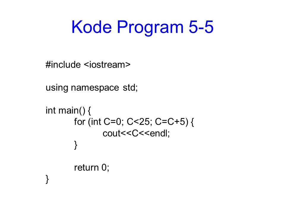 Kode Program 5-5 #include <iostream> using namespace std;