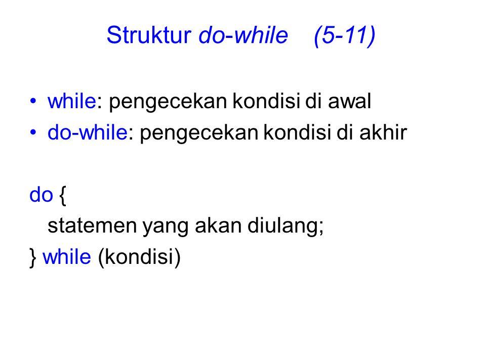 Struktur do-while (5-11) while: pengecekan kondisi di awal