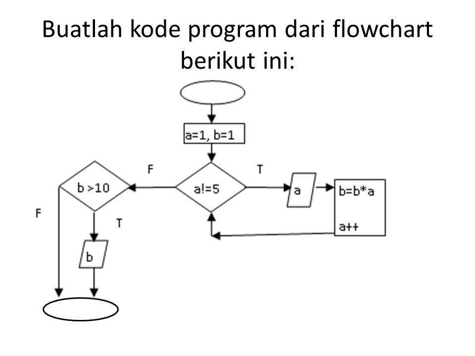 Buatlah kode program dari flowchart berikut ini: