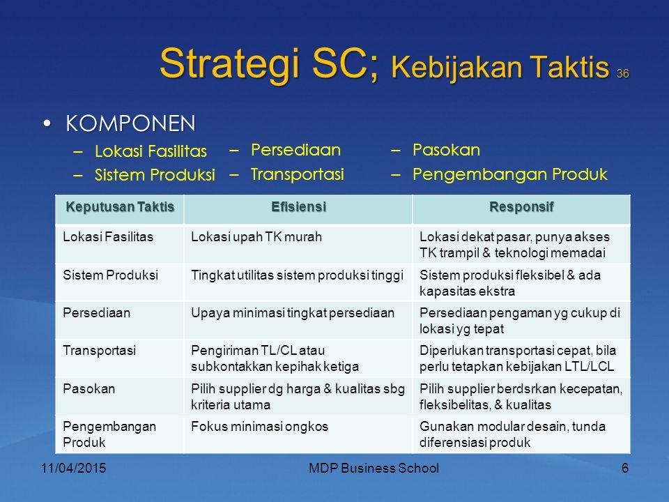 Strategi SC; Kebijakan Taktis 36