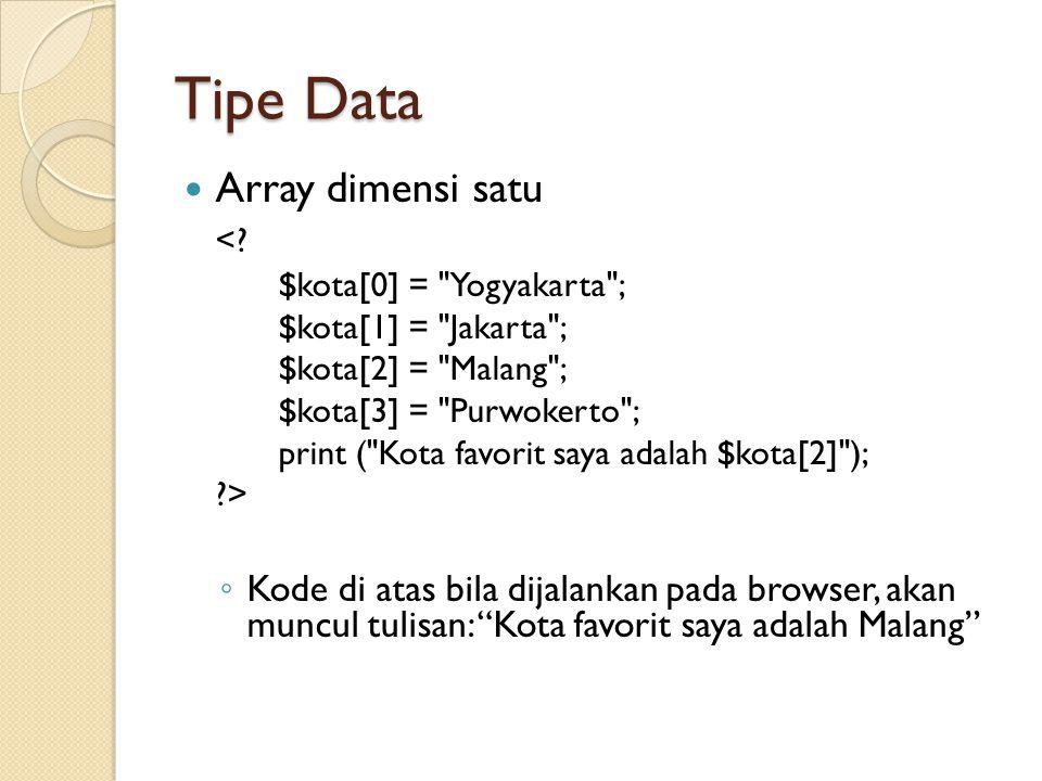 Tipe Data Array dimensi satu <