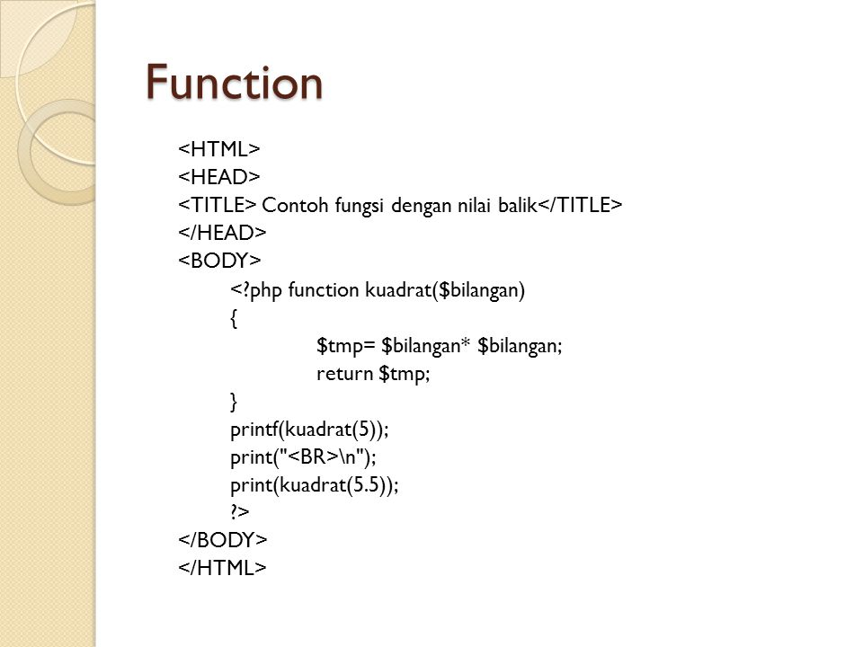 Function <HTML> <HEAD>