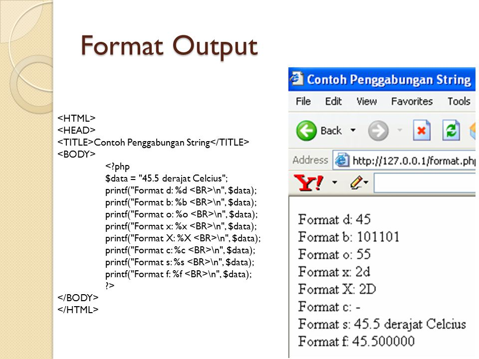 Format Output <HTML> <HEAD>