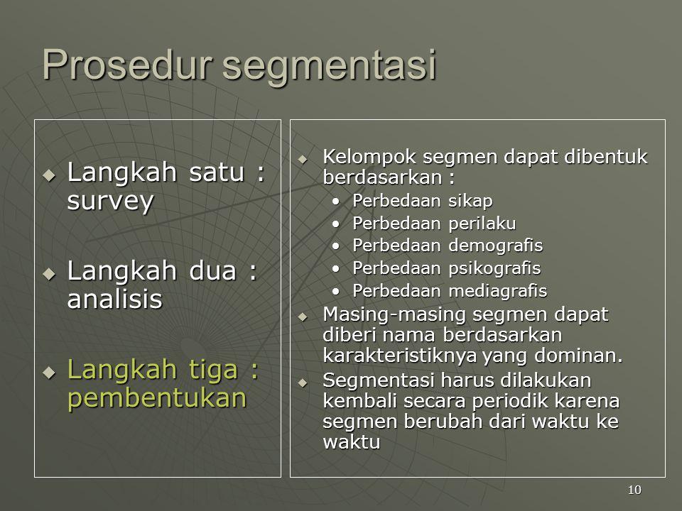 Prosedur segmentasi Langkah satu : survey Langkah dua : analisis