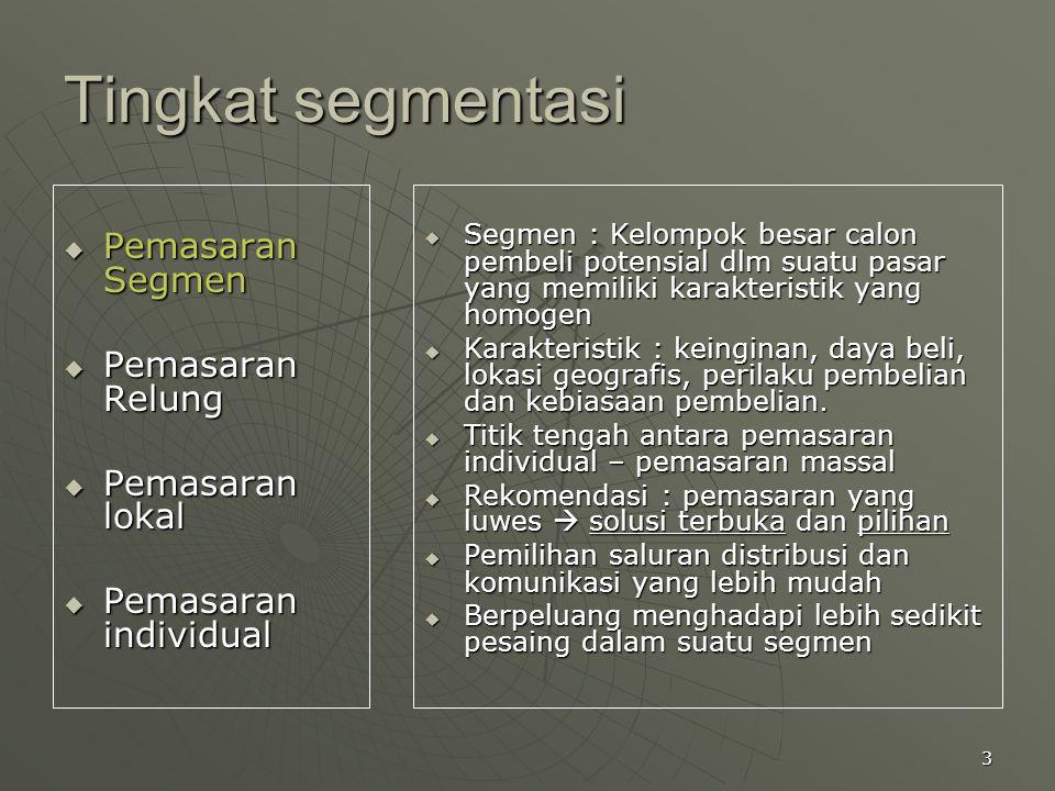 Tingkat segmentasi Pemasaran Segmen Pemasaran Relung Pemasaran lokal