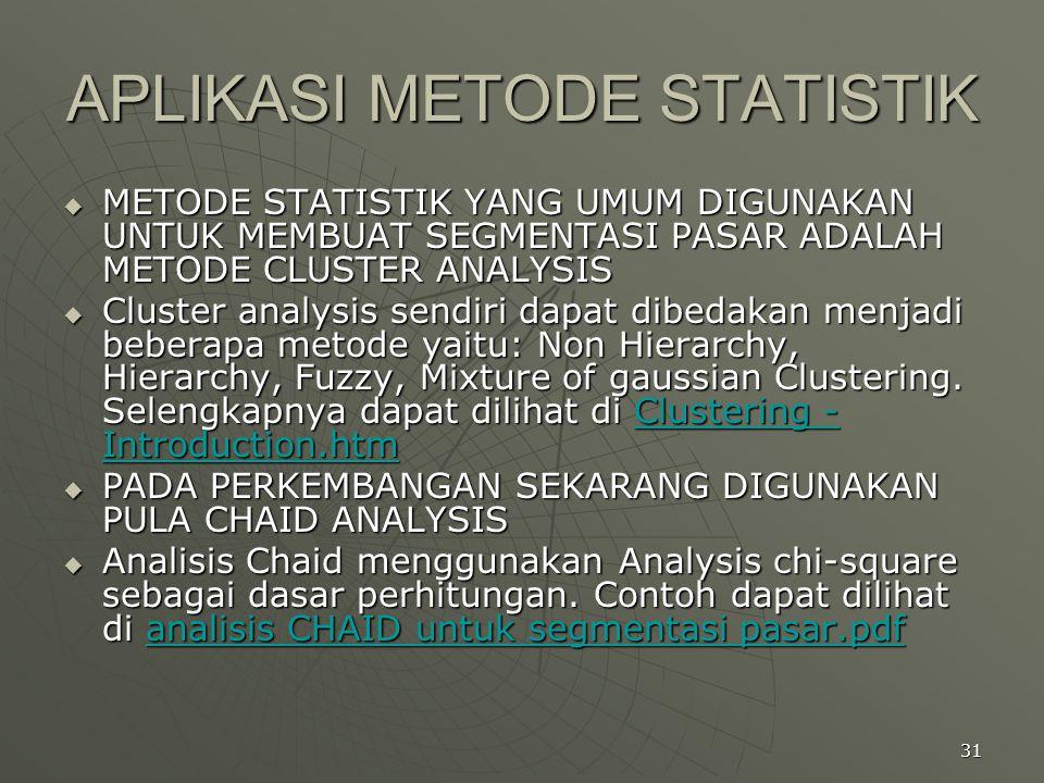 APLIKASI METODE STATISTIK