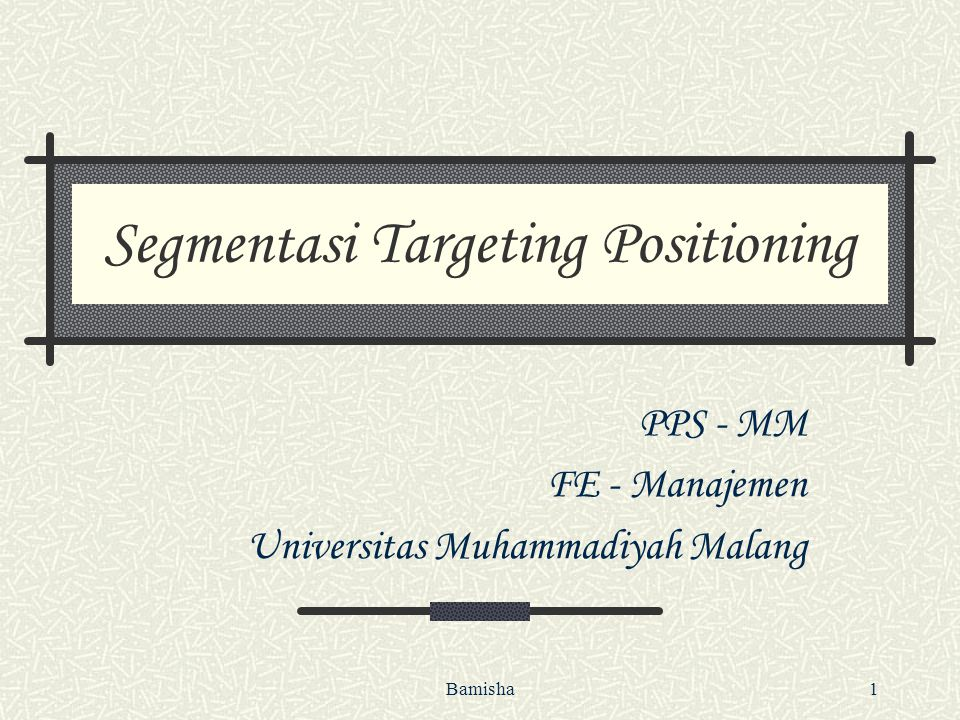 Segmentasi Targeting Positioning