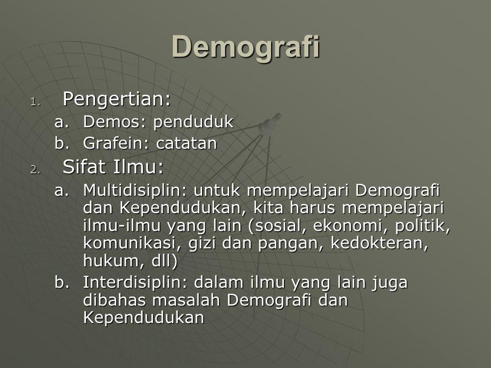 Demografi Pengertian: Sifat Ilmu: Demos: penduduk Grafein: catatan