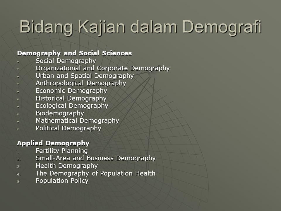 Bidang Kajian dalam Demografi