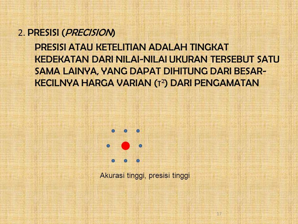 2. PRESISI (PRECISION) PRESISI ATAU KETELITIAN ADALAH TINGKAT KEDEKATAN DARI NILAI-NILAI UKURAN TERSEBUT SATU SAMA LAINYA, YANG DAPAT DIHITUNG DARI BESAR-KECILNYA HARGA VARIAN (τ2) DARI PENGAMATAN