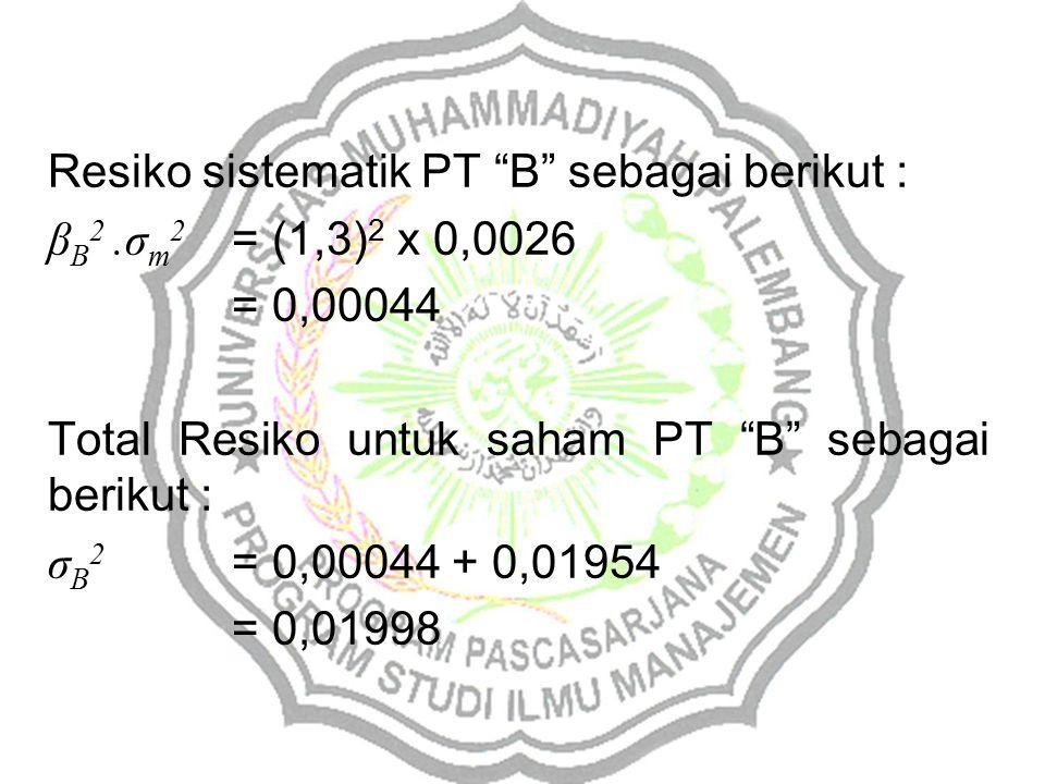Resiko sistematik PT B sebagai berikut :