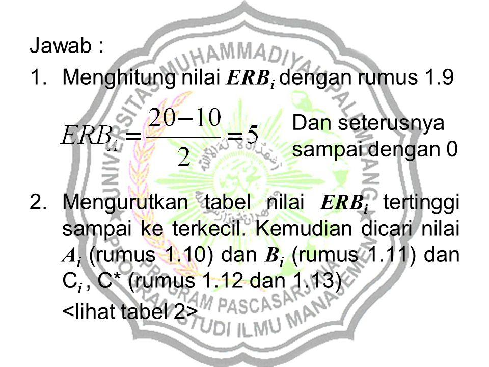 Jawab : Menghitung nilai ERBi dengan rumus 1.9.