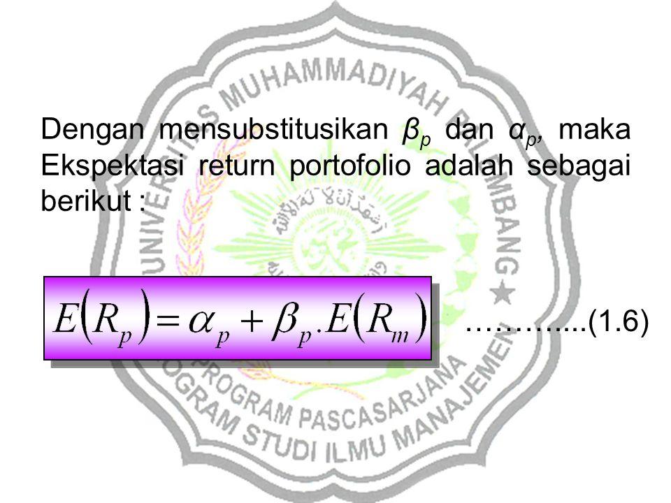 Dengan mensubstitusikan βp dan αp, maka Ekspektasi return portofolio adalah sebagai berikut :