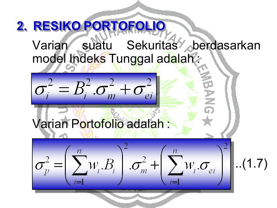 RESIKO PORTOFOLIO Varian suatu Sekuritas berdasarkan model Indeks Tunggal adalah : Varian Portofolio adalah :