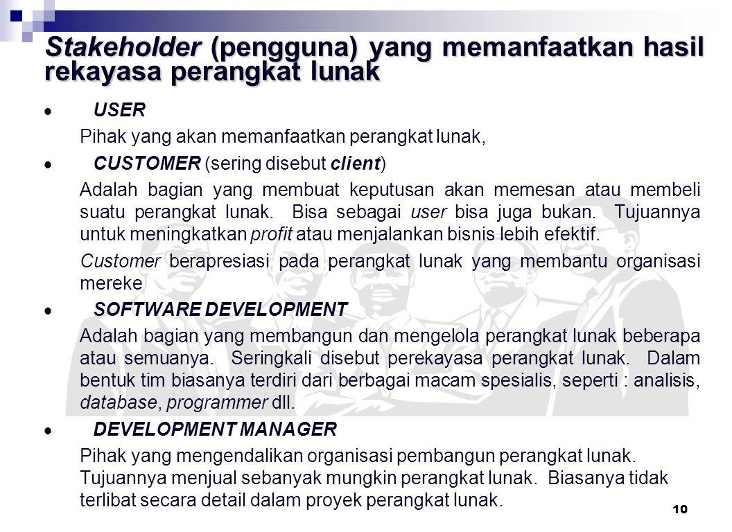Stakeholder (pengguna) yang memanfaatkan hasil rekayasa perangkat lunak