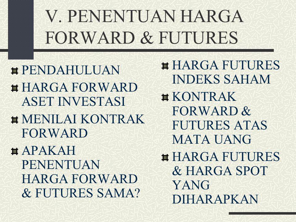 V. PENENTUAN HARGA FORWARD & FUTURES