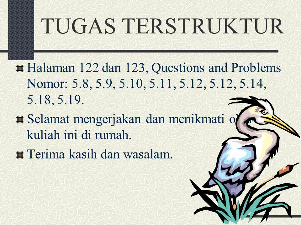 TUGAS TERSTRUKTUR Halaman 122 dan 123, Questions and Problems Nomor: 5.8, 5.9, 5.10, 5.11, 5.12, 5.12, 5.14, 5.18, 5.19.