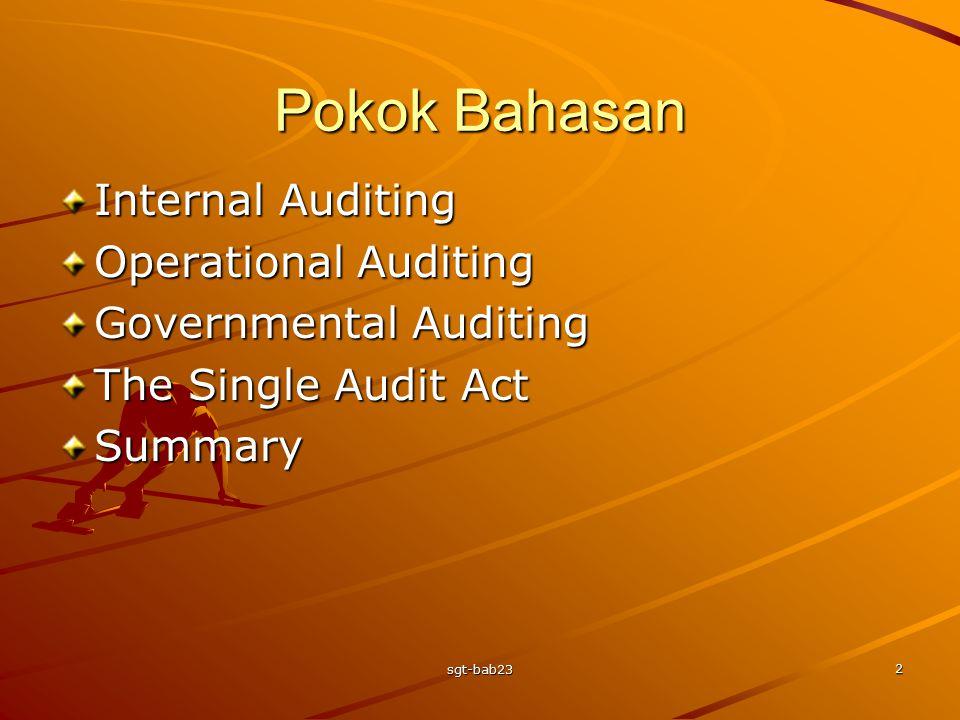 Pokok Bahasan Internal Auditing Operational Auditing