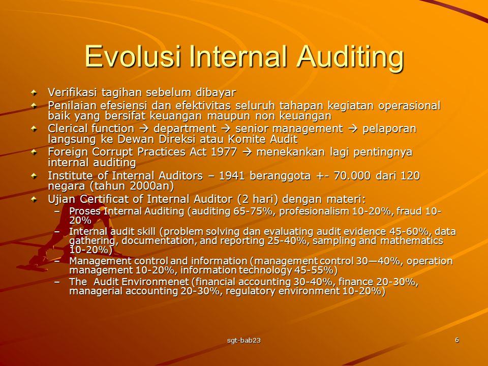Evolusi Internal Auditing