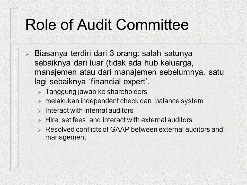 Role of Audit Committee