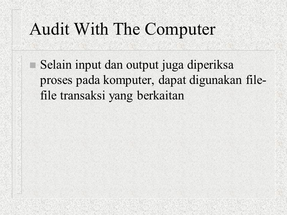Audit With The Computer
