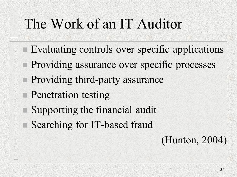The Work of an IT Auditor