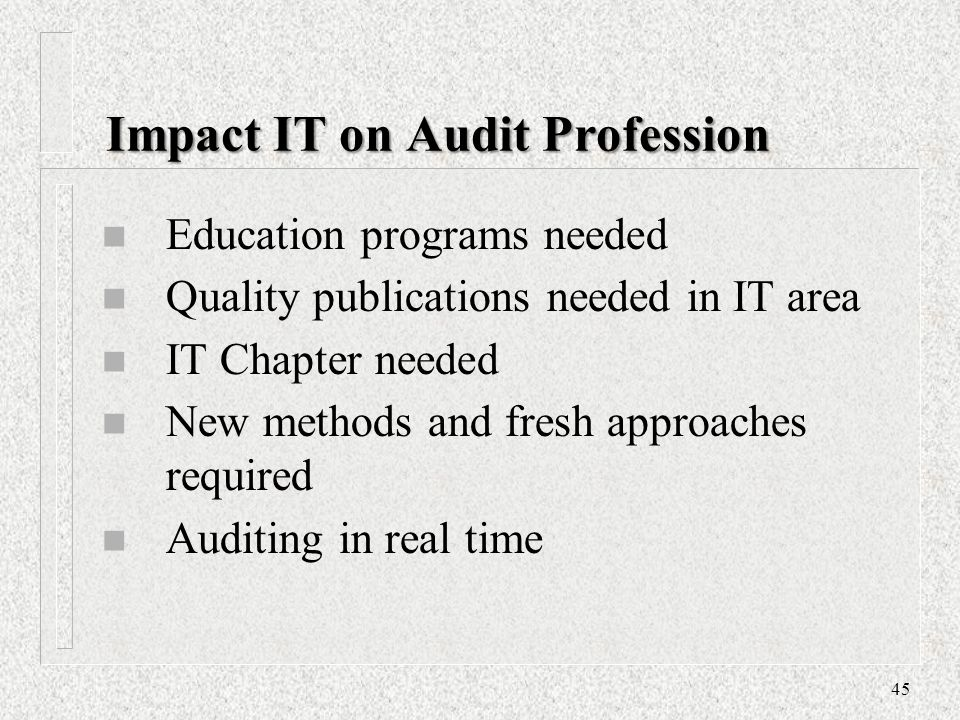 Impact IT on Audit Profession
