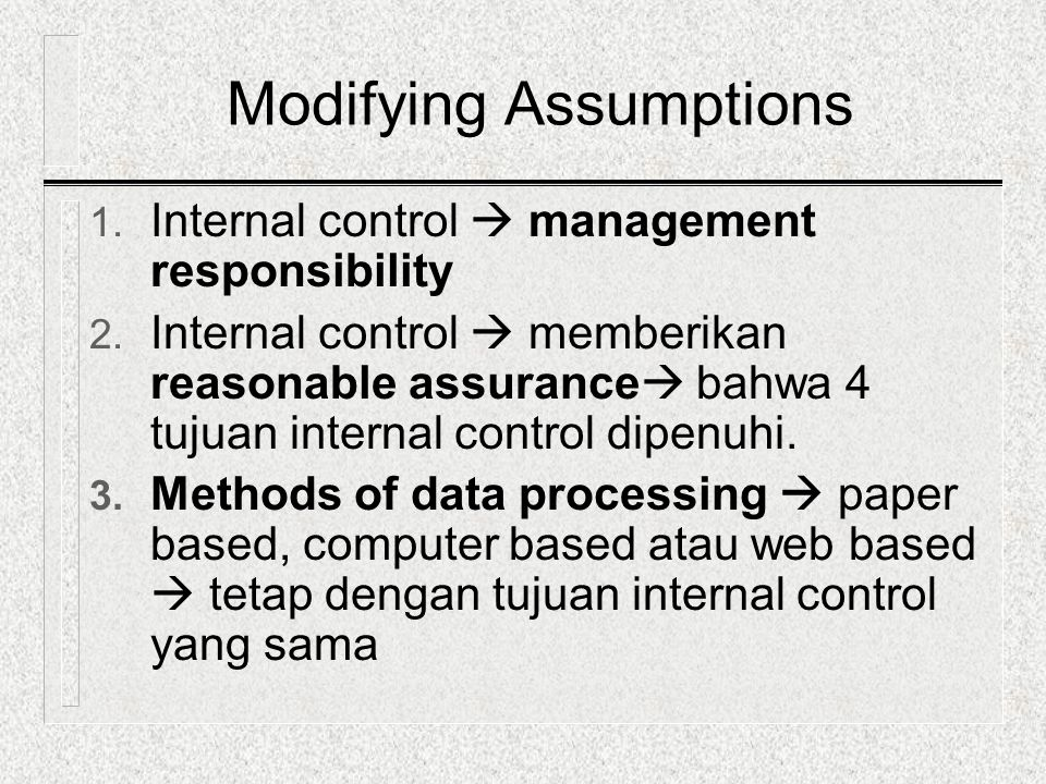 Modifying Assumptions