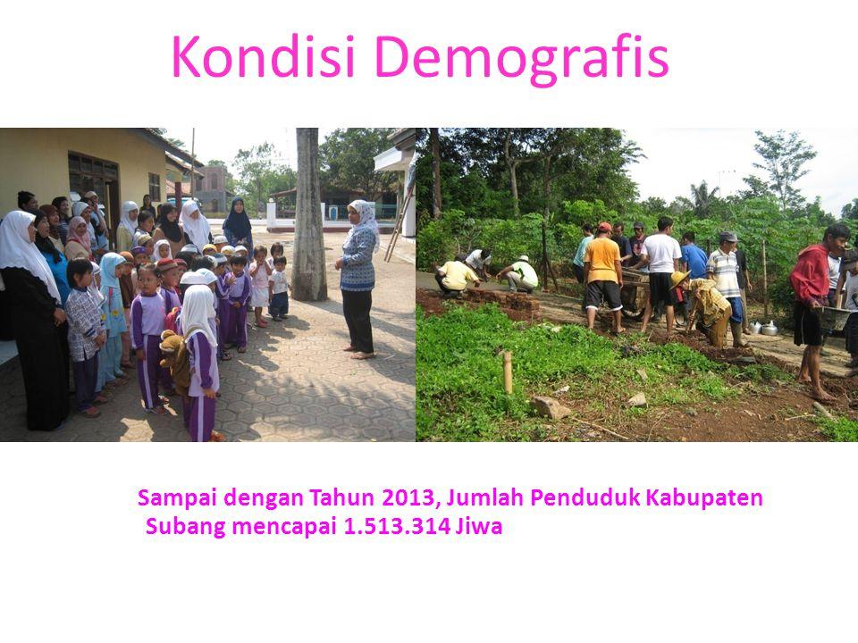 Kondisi Demografis Sampai dengan Tahun 2013, Jumlah Penduduk Kabupaten Subang mencapai 1.513.314 Jiwa.