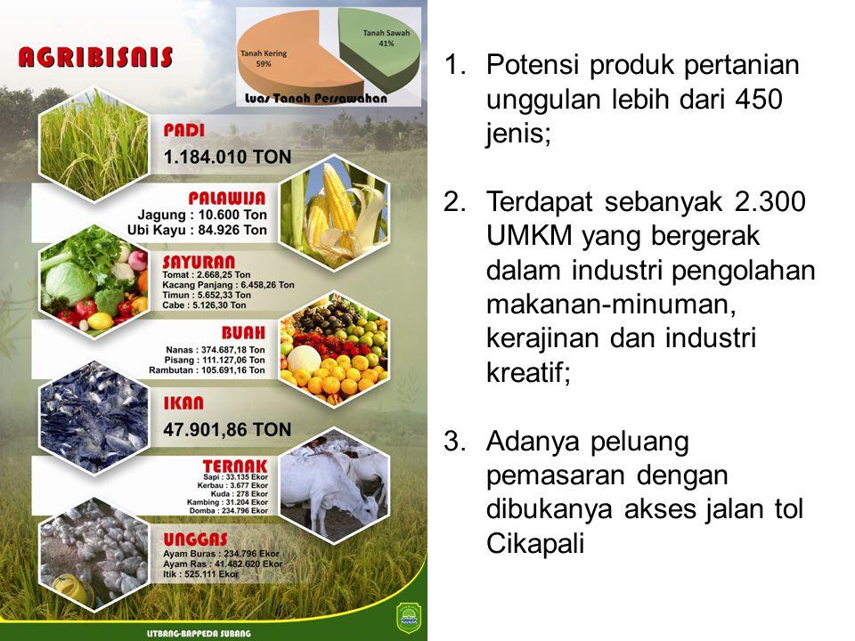 Potensi produk pertanian unggulan lebih dari 450 jenis;