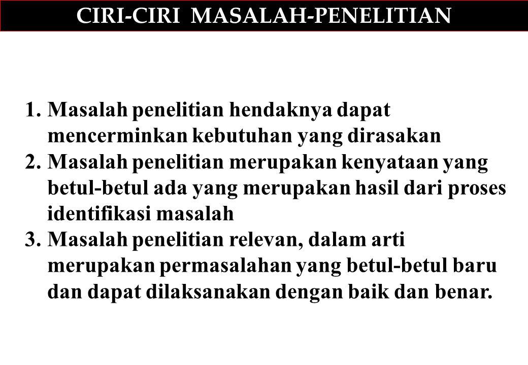 CIRI-CIRI MASALAH-PENELITIAN