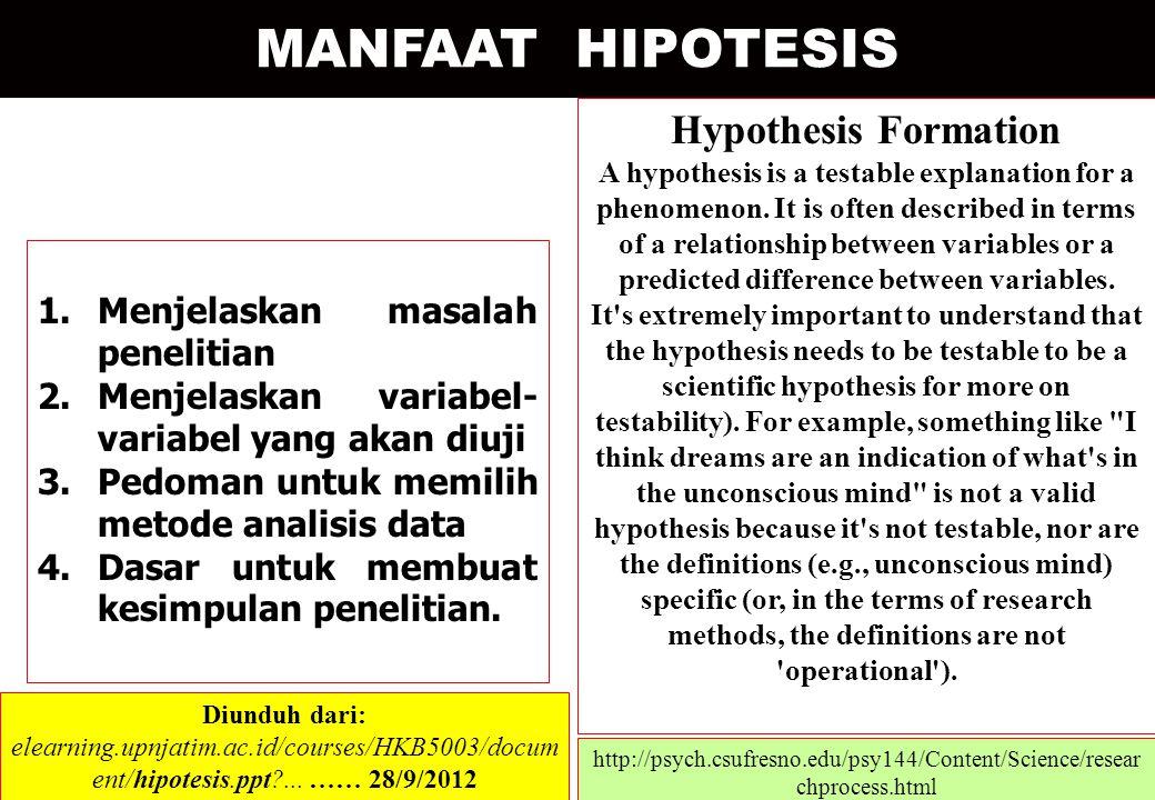 MANFAAT HIPOTESIS Hypothesis Formation Menjelaskan masalah penelitian