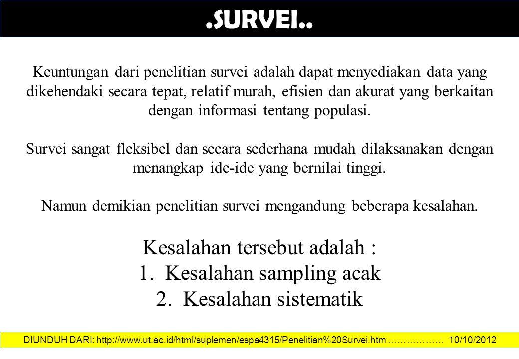Namun demikian penelitian survei mengandung beberapa kesalahan.