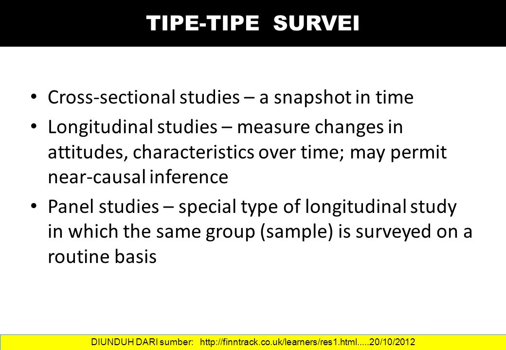 Cross-sectional studies – a snapshot in time